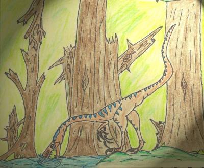 El compsognathus detiene su caminar, y toma agua